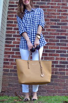 bronze Michael Kors bag - white Mango jeans - navy gingham J Crew shirt