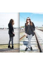 black suede Zara boots - heather gray Zara jeans - black H&M blazer