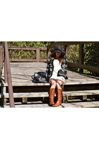 brown Aldo boots - off white lace dress Forever 21 dress - black floppy hat Fore