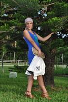brown Cynthia Vincent shoes - blue Sugarlips dress - bronze tory burch accessori