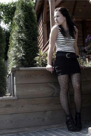 black Bershka shoes - black H&M skirt - white H&M shirt - black pieces belt - bl
