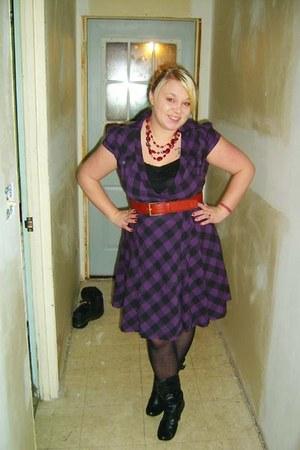 tramp dress - J Crew blazer - merona tights - thrifted belt