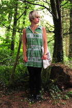green retro patterned River Island dress - black unknown tights