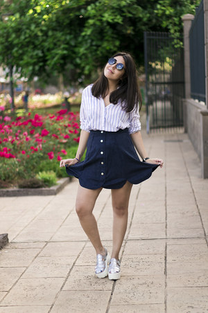 navy suede zaful skirt - white green coast shirt - black firmoo sunglasses