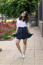 white green coast shirt - black firmoo sunglasses - navy suede zaful skirt