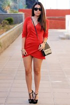 red sammydress dress - black H&M bag - black Mister Spex sunglasses