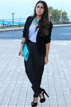black Lefties blazer - sky blue H&M bag - white Primark blouse
