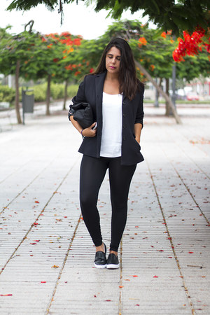 black Primark leggings - black el corte ingles blazer - white H&M shirt