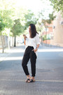 White-primark-shirt-black-siete-sandals-black-zara-pants