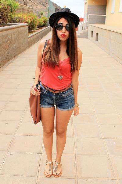 red Local store shirt - black BLANCO hat - tawny Zara bag - navy Levis shorts