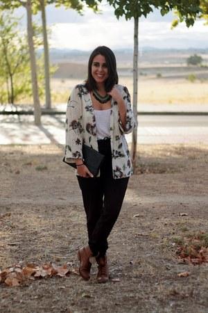 white Zara shirt - bronze Local store boots - black suiteblanco bag
