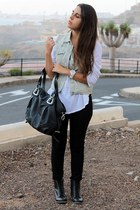 black el corte ingles boots - black Mulaya bag - white Zara blouse