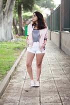 light pink cotton zaful jacket - navy Zara shirt - white Pimkie shorts