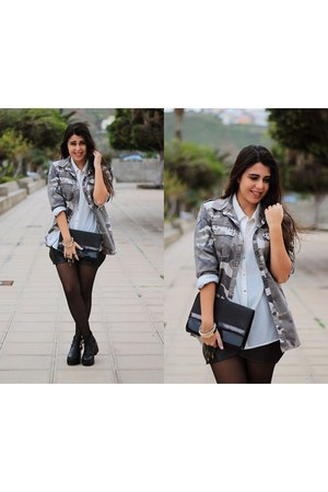 white Primark blouse - black Local store boots - heather gray pull&bear jacket