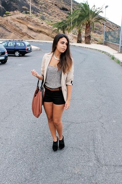off white Shana blouse - eggshell pull&bear blazer - brown Zara bag