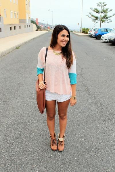 bubble gum Lefties blouse - brown Madrid Store boots - brown Zara bag