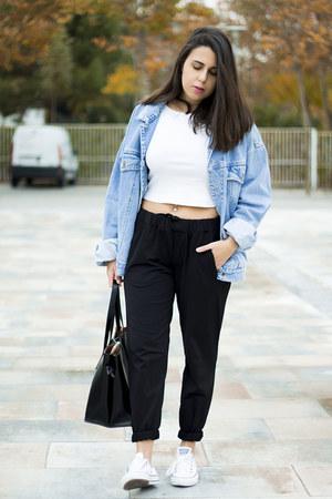black zaful bag - sky blue vintage jacket - black Zara pants