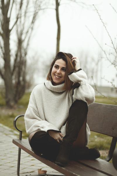 black suede Rosegal boots - beige Zara sweater