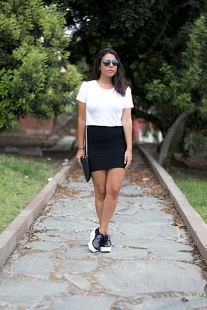 black pull&bear bag - white Zara shirt - black Aliexpress skirt