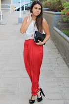 black H&M bag - ruby red Zara pants - black Marypaz heels - white Zara blouse