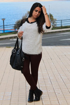 silver sammydress sweater - black el corte ingles boots - crimson Zara leggings