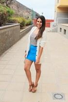 blue pull&bear skirt - ivory Misako bag - ivory Primark cardigan