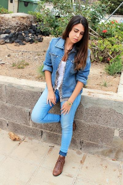 white Zara blouse - brown Ardene boots - sky blue Primark jeans