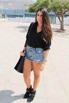 black Primark boots - black Primark bag - sky blue OASAP shorts