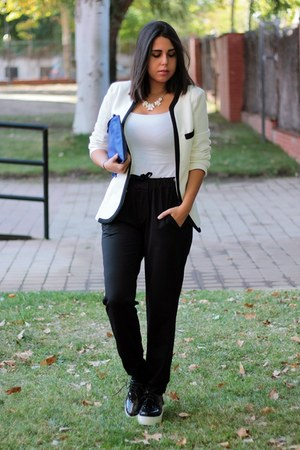 blue Zara bag - black Local store shoes - white Oasapcom jacket