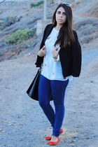 black Lefties blazer - navy pull&bear jeans - black Primark bag