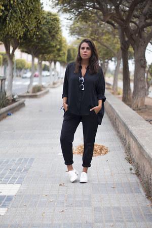 white Stradivarius flats - black Rosegal sunglasses - black Zara pants