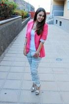 hot pink Stradivarius blazer - white Zara shirt - silver Parfois bag