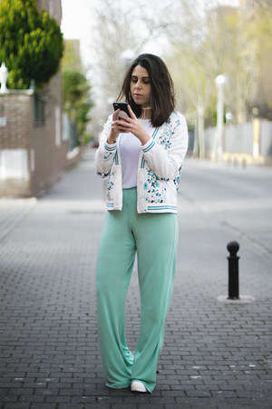 white Oasapcom jacket - white Zara shirt - cream dresslily necklace