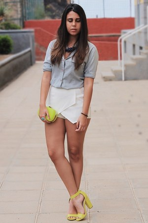 yellow suiteblanco bag - periwinkle vintage shirt - white PERSUNMALL shorts