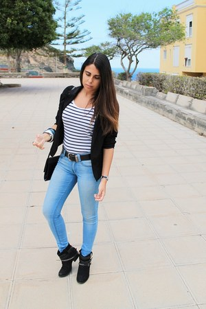white H&amp;M shirt - black Primark boots - sky blue Primark jeans