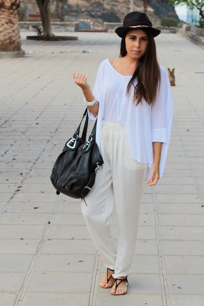 black suiteblanco hat - black Mulaya bag - ivory Zara pants
