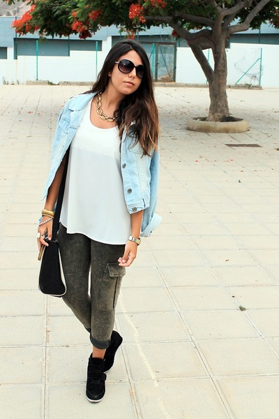 light blue Shana jacket - dark khaki Mango leggings - black Primark bag