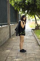 black Lefties jacket - black Bershka shorts - black Encuentro blouse