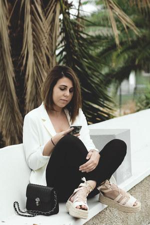 black sammydress jeans - white H&M blazer - light pink Primark shirt