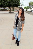 dark khaki pull&bear jacket - black Primark boots - light blue Lefties jeans