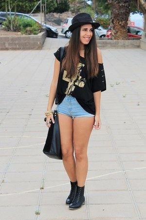 black el corte ingles boots - black suiteblanco hat - black Primark bag