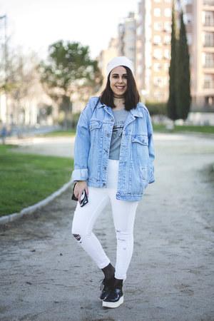 white pull&bear jeans - ivory Primark hat - sky blue vintage jacket