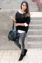 black Primark sweater - heather gray el corte ingles leggings
