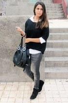 black Primark sweater - heather gray el corte ingles leggings