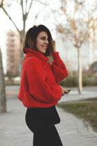 black VIPshop pants - red H&M sweater
