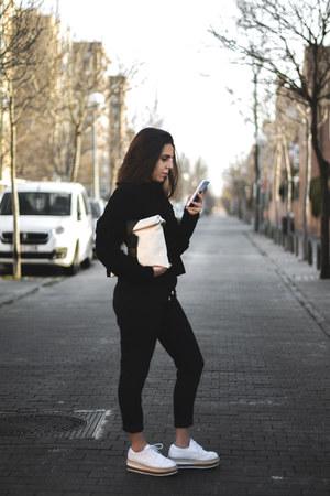 black Stradivarius sweater - cream leather zaful bag - black zaful pants