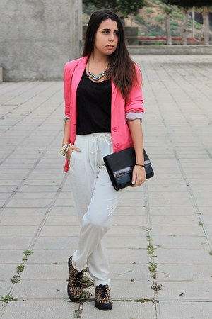hot pink Stradivarius blazer - black H&M bag - white Zara pants