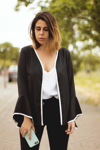 black zaful blouse - white Stradivarius shirt - black VIPshop pants