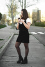 Black-newchic-boots-black-dresslily-dress-white-lefties-shirt
