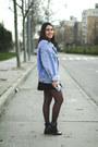Black-zara-boots-sky-blue-vintage-jacket-white-zara-shirt
